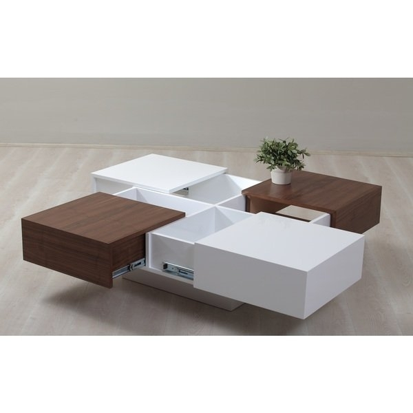 Shop Milano White And Walnut 4 Drawer Coffee Table – Free Shipping For Walnut Finish 6 Drawer Coffee Tables (Image 36 of 40)