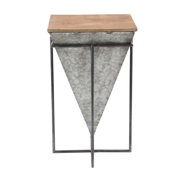 Shop Modern Inverted Pyramid Iron And Wood Accent Table – On Sale In Inverted Triangle Coffee Tables (View 7 of 40)