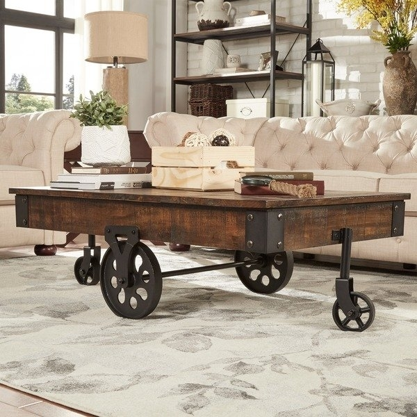Shop Myra Vintage Industrial Modern Rustic 47 Inch Coffee Table Pertaining To Natural Wheel Coffee Tables (Image 38 of 40)