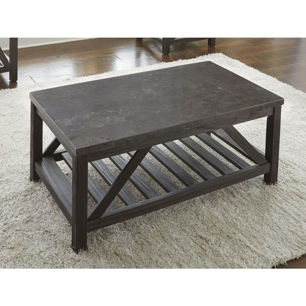 Shop New Badin 48 Inch Rectangle Coffee Table With Bluestone Top With Regard To Bluestone Rustic Black Coffee Tables (Image 37 of 40)