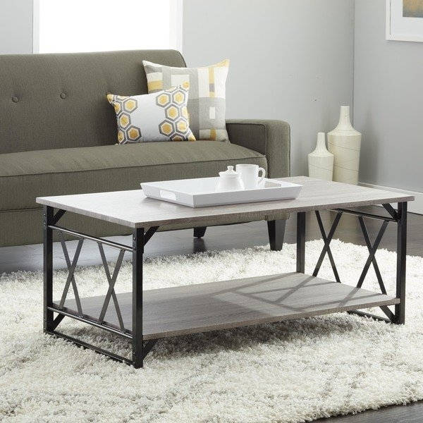 Shop Reclaimed Style Grey Coffee Table With Double 'x' Frame – On Intended For Seneca Lift Top Cocktail Tables (View 6 of 40)