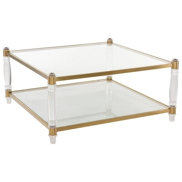 Shop Safavieh Couture High Line Collection Isabelle Bronze Brass With Regard To Acrylic Glass And Brass Coffee Tables (View 9 of 40)