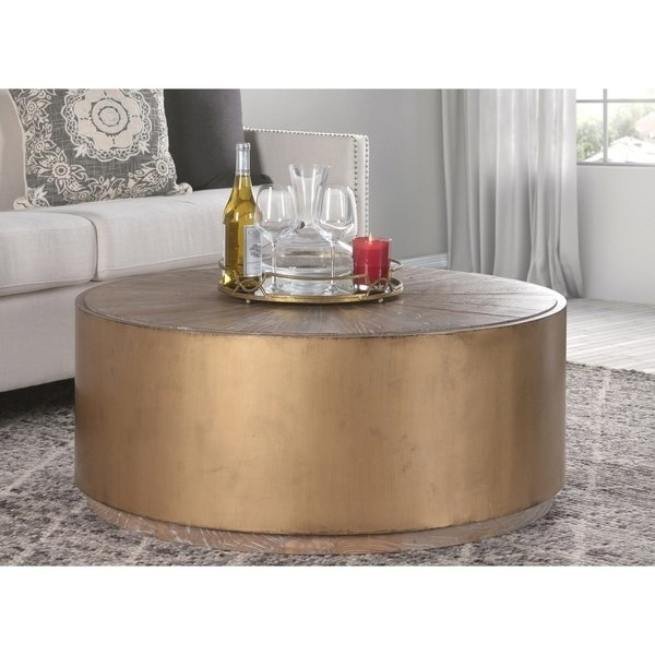 Shop Salsbury Antique Gold Reclaimed Wood Coffee Tablekosas Home Within Reclaimed Elm Cast Iron Coffee Tables (View 11 of 40)