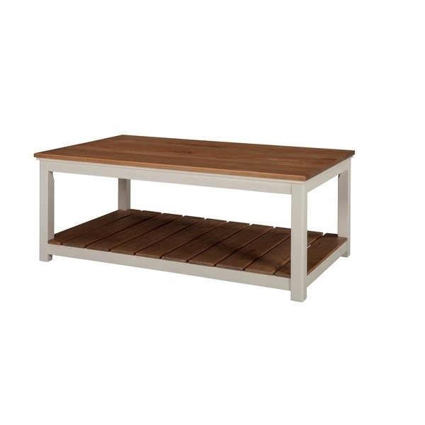 """Shop Savannah 45""""w Coffee Table, Ivory With Natural Wood Top – Free Regarding Element Ivory Rectangular Coffee Tables (Image 35 of 40)"""