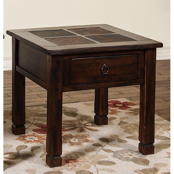 Shop Sunny Designs Santa Fe End Table W/ Slate Top – Free Shipping Throughout Santa Fe Coffee Tables (View 27 of 40)