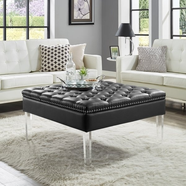 Shop Vivian Leather Oversized Button Tufted Ottoman Coffee Table Regarding Button Tufted Coffee Tables (View 11 of 40)