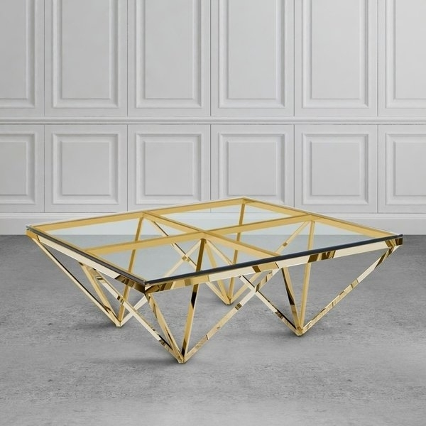 Shop Zest Glass And Metal Square Coffee Table – Free Shipping Today Intended For Inverted Triangle Coffee Tables (View 3 of 40)