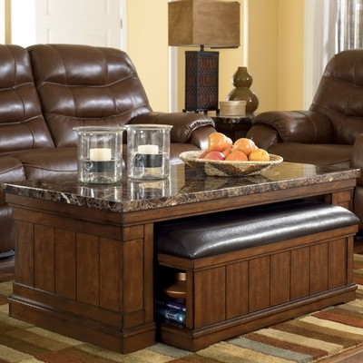 Signature Designashley Mapleton Coffee Table With Ottoman T838 1 Throughout Mill Large Leather Coffee Tables (View 33 of 40)