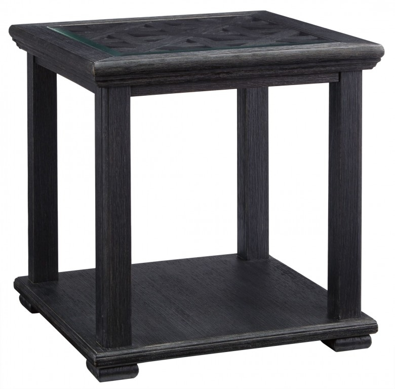 Signature Designashley Tyler Creek Black Square End Table Pertaining To Carissa Cocktail Tables (Image 30 of 40)