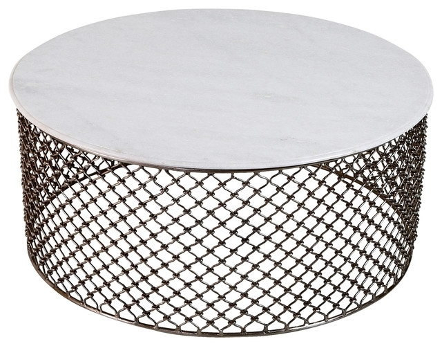 Sigrid Global White Marble Iron Coffee Table – Eclectic – Coffee Regarding Iron Marble Coffee Tables (Image 32 of 40)