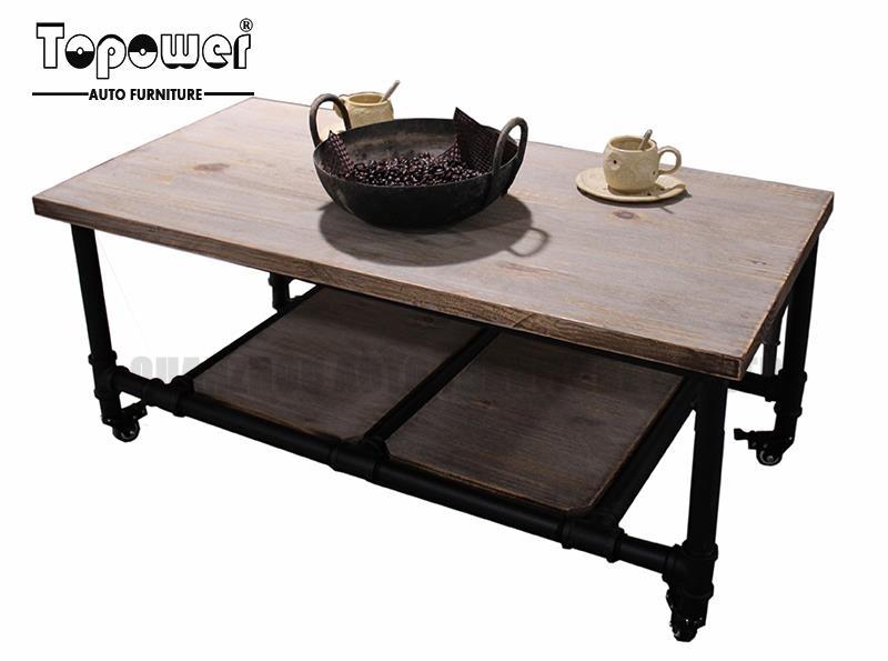 Šiuolaikinė Pramoninė Regeneruota Stačiakampio Metalo Vamzdžio Intended For Iron Wood Coffee Tables With Wheels (Image 36 of 40)