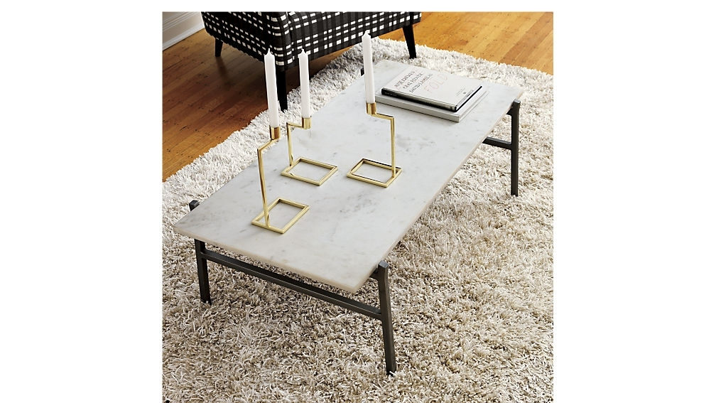 Slab White Marble Coffee Table + Reviews | Cb2 Intended For Large Slab Marble Coffee Tables With Antiqued Silver Base (Photo 2 of 40)