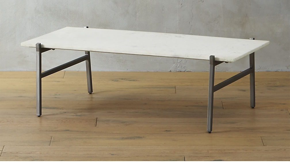 Slab White Marble Coffee Table + Reviews | Cb2 Within Iron Marble Coffee Tables (Image 33 of 40)