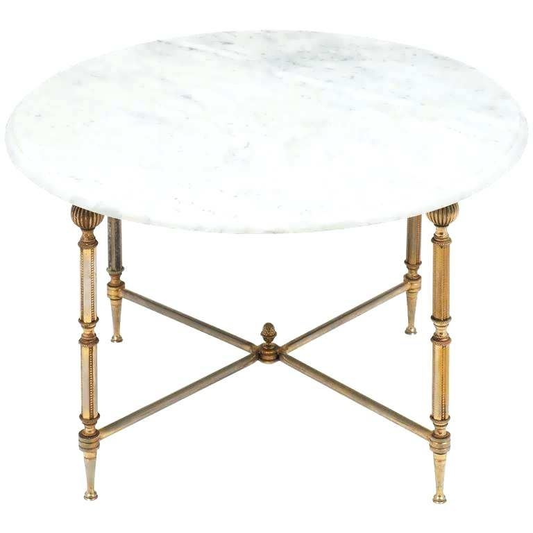 Small Marble Coffee Table Small Round Marble Coffee Table Pillar Intended For Slab Small Marble Coffee Tables With Antiqued Silver Base (Image 37 of 40)