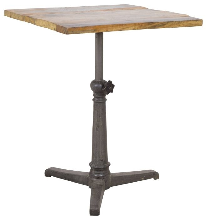 Small Naveen Reclaimed Wood & Iron Café Table – Rustic – Dining With Regard To Naveen Coffee Tables (Image 33 of 40)