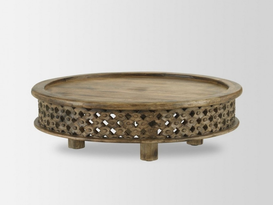 Small Round Coffee Table New Carved Wood Coffee Table West Elm Uk In With Regard To Round Carved Wood Coffee Tables (Image 36 of 40)