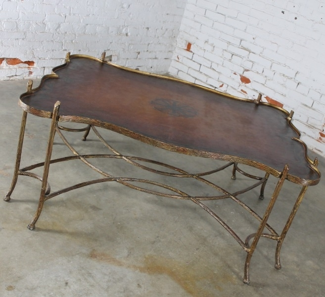 Sold – Vintage Gilded Iron Faux Bois Coffee Table With Tole Painted Inside Faux Bois Coffee Tables (View 7 of 40)
