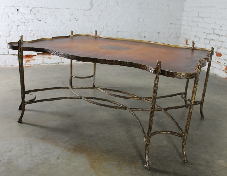 Sold – Vintage Gilded Iron Faux Bois Coffee Table With Tole Painted Pertaining To Faux Bois Coffee Tables (View 23 of 40)