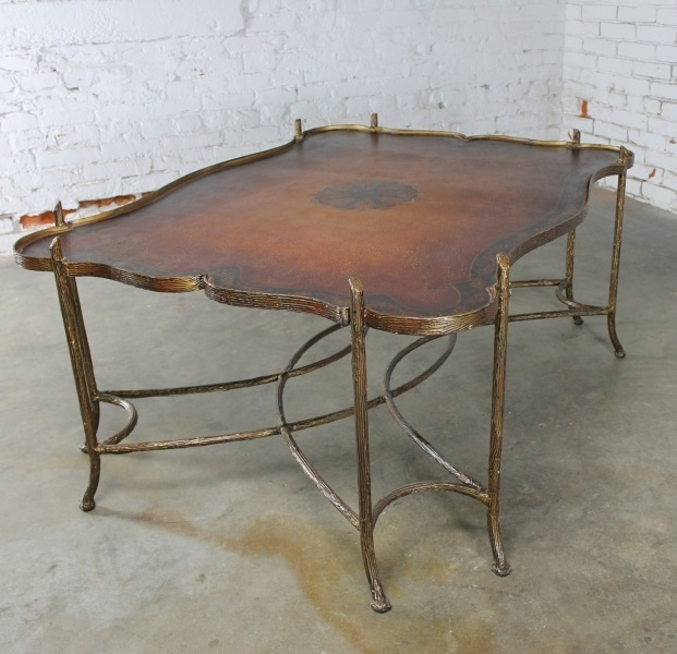 Sold – Vintage Gilded Iron Faux Bois Coffee Table With Tole Painted Throughout Faux Bois Coffee Tables (View 10 of 40)