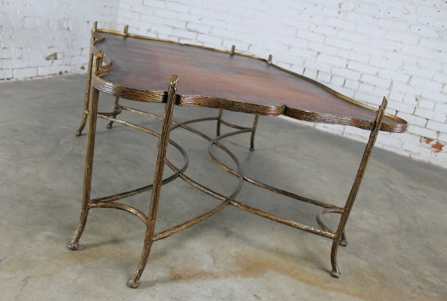 Sold – Vintage Gilded Iron Faux Bois Coffee Table With Tole Painted With Regard To Faux Bois Coffee Tables (View 17 of 40)