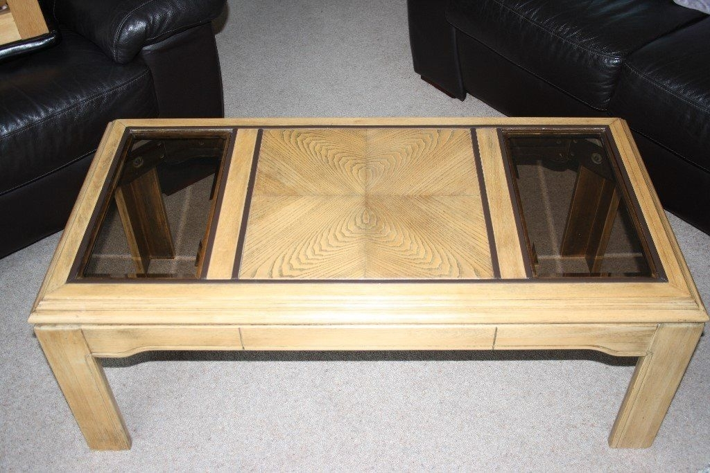 Solid Oak Coffee Table With Symmetrical Inlays And 2 Bevelled Smoked In Smoked Oak Coffee Tables (Image 36 of 40)