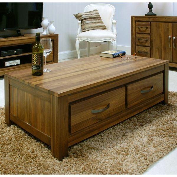 Solid Walnut Coffee Table With 4 Drawers – Mayan | Pinterest | Large With Walnut 4 Drawer Coffee Tables (View 15 of 40)
