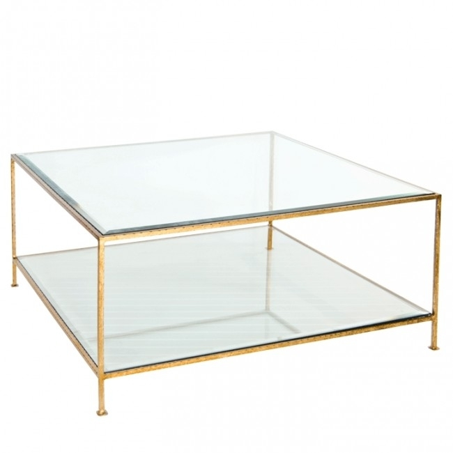 Southbury Gold Leaf Glass Square Coffee Table In Gold Leaf Collection Coffee Tables (Image 31 of 40)