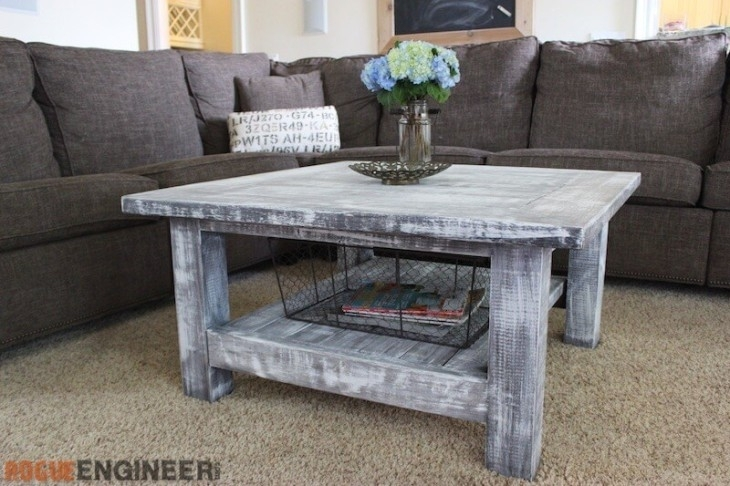 Square Coffee Table W/ Planked Top { Free Diy Plans } Inside White Wash 2 Drawer/1 Door Coffee Tables (View 30 of 40)