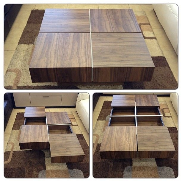 Square Coffee Table With 4 Drawers For Storage In Walnut @ Furniture With Walnut 4 Drawer Coffee Tables (View 23 of 40)