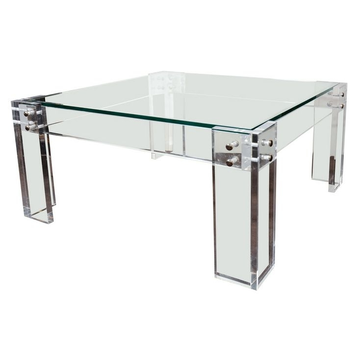 Square Lucite Coffee Table 20 Chic Acrylic Coffee Tables – Pau Que Home Intended For Acrylic Glass And Brass Coffee Tables (View 24 of 40)