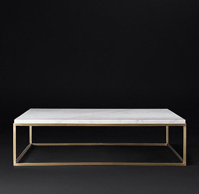 Square Marble Brass Coffee Table With Alcide Rectangular Marble Coffee Tables (View 21 of 40)