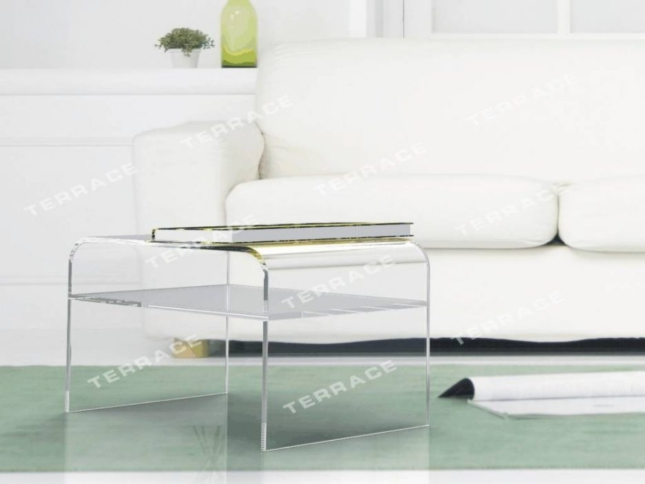 Square Wood Side Table Black And Gray Coffee Table Lucite Sofa Table For Peekaboo Acrylic Coffee Tables (Image 37 of 40)