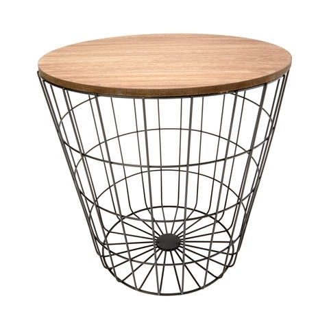Storage Wire Basket Table – Natural Look & Black | Kmart With Regard To Black Wire Coffee Tables (Image 30 of 40)