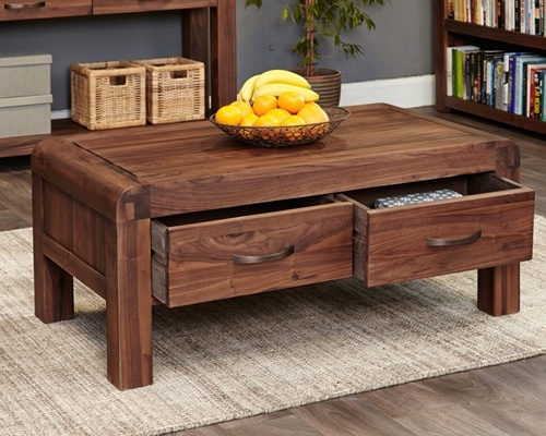 Store | Solid Walnut Coffee Table With Storage – Shiro In Walnut Finish 6 Drawer Coffee Tables (Image 37 of 40)