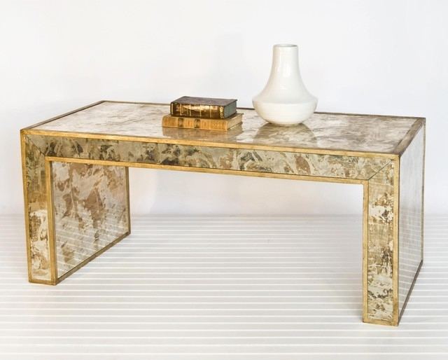 Stylish Gold Leaf Coffee Table Worlds Away Reverse Mirror Coffee Regarding Gold Leaf Collection Coffee Tables (Image 32 of 40)