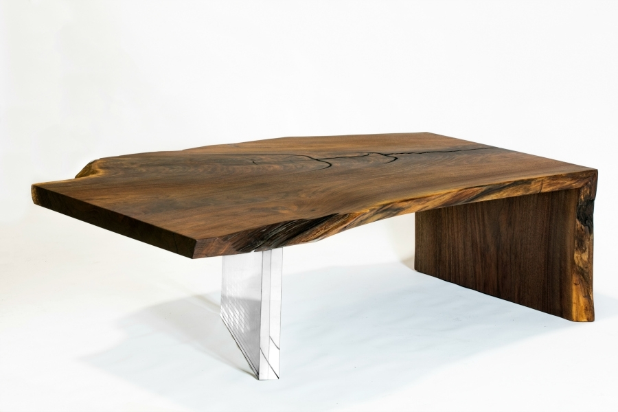 Superior Woodcraft | Claro Walnut Live Edge Waterfall Coffee Table Regarding Waterfall Coffee Tables (Image 26 of 40)