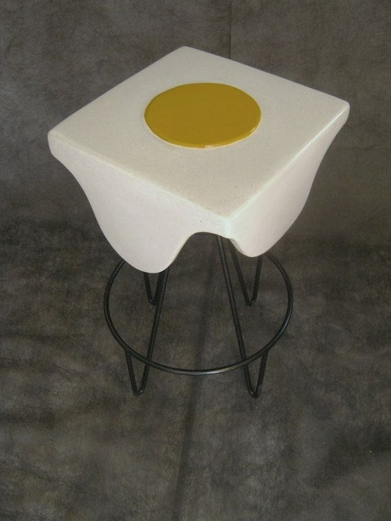 Surrealist Inspired Whimsical Polished Concrete Fried Egg Table For Mid Century Modern Egg Tables (Image 34 of 40)