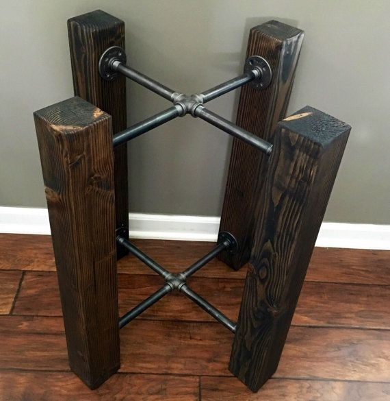 Table Base Wood Beam & Iron Pipe Round/square Dining – Custom For 33 Inch Industrial Round Tables (Image 39 of 40)