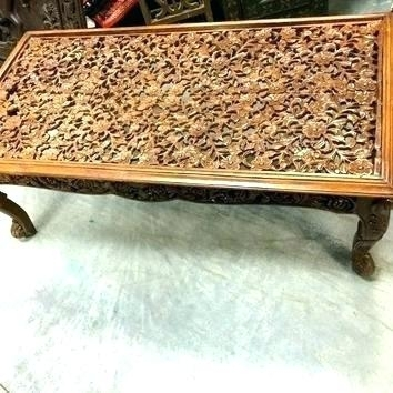 Table: Carved Wood Coffee Table Round Side West Elm (Image 37 of 40)