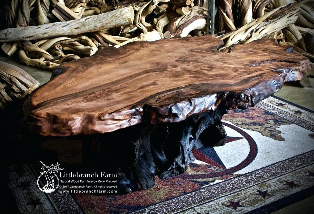 Table: Redwood Slab Coffee Table With Natural Wheel Coffee Tables (Photo 19 of 40)
