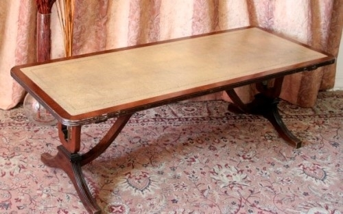 Tables – Exquisite Vintage Duncan Phyfe Inspired Mahogany Leather Intended For Lyre Coffee Tables (Photo 34 of 40)