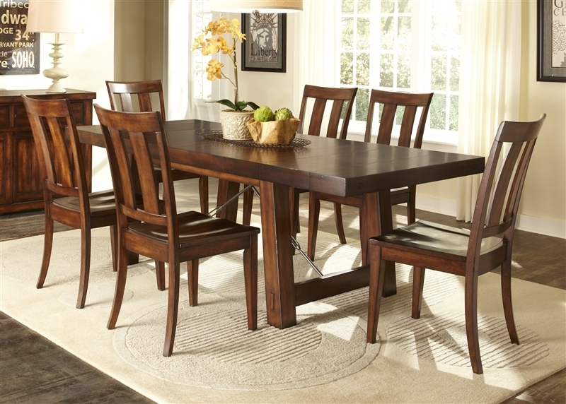 Tahoe Trestle Table 5 Piece Dining Set In Mahogany Stain Finish Within Tahoe Ii Cocktail Tables (Image 35 of 40)
