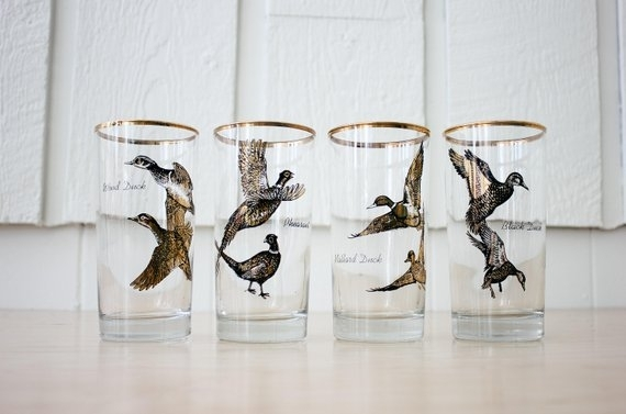 Tall Cocktail Glasses With Birds Pheasants Mallard Ducks | Etsy Regarding Mallard Cocktail Tables (View 35 of 40)