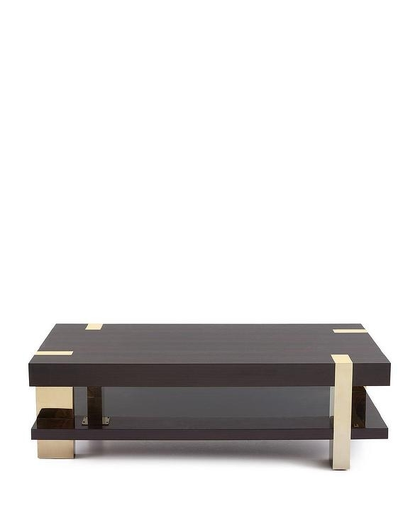 Talon Eucalyptus Wood Brass Coffee Table Intended For Joni Brass And Wood Coffee Tables (Image 36 of 40)