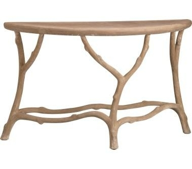 Tan Faux Bois Demilune Console Table Within Faux Bois Coffee Tables (View 40 of 40)