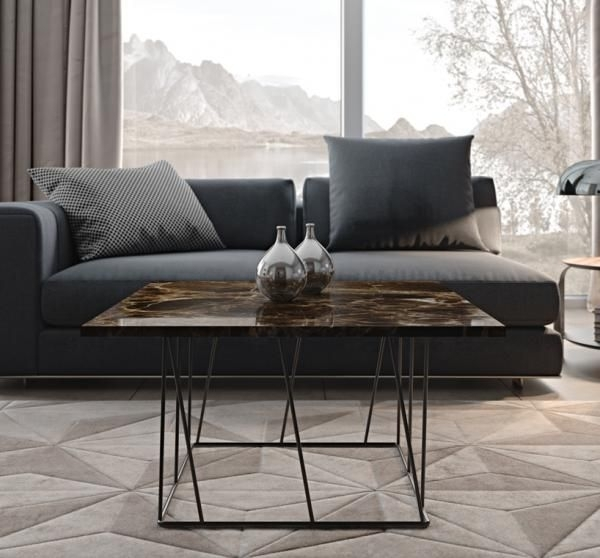 Temahome Helix, Modern Brown Marble Side Or Coffee Table With A Intended For Modern Marble Iron Coffee Tables (Image 37 of 40)