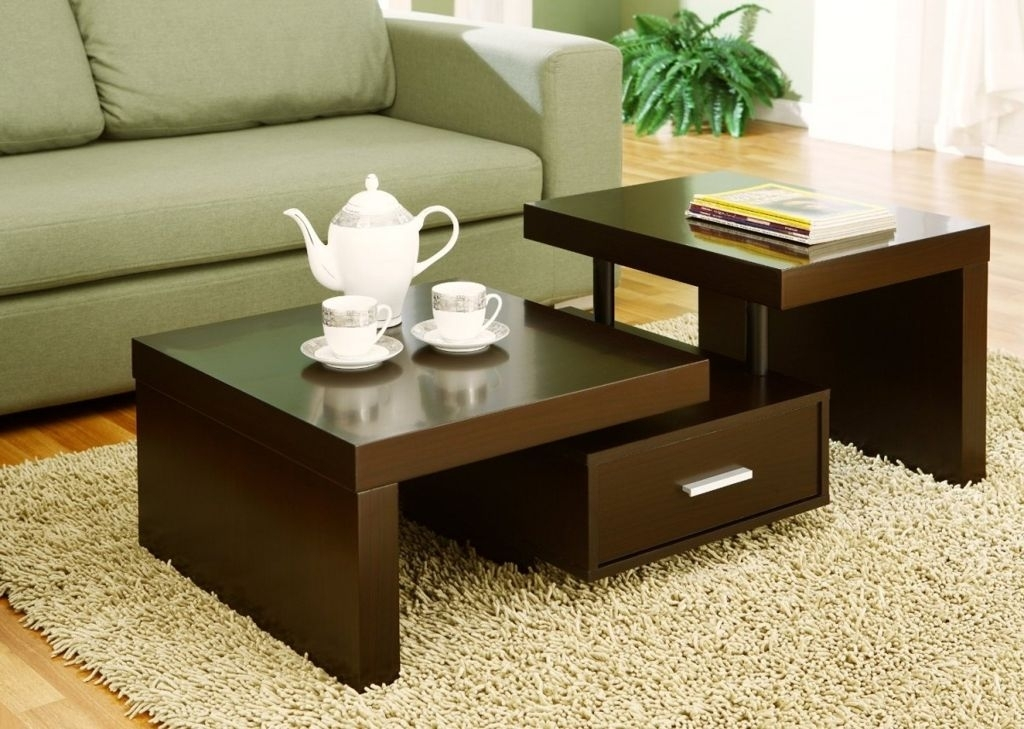 Terraced Shape Espresso High Gloss Finish Walnut Freestanding Modern With Regard To Stack Hi Gloss Wood Coffee Tables (Photo 16 of 40)