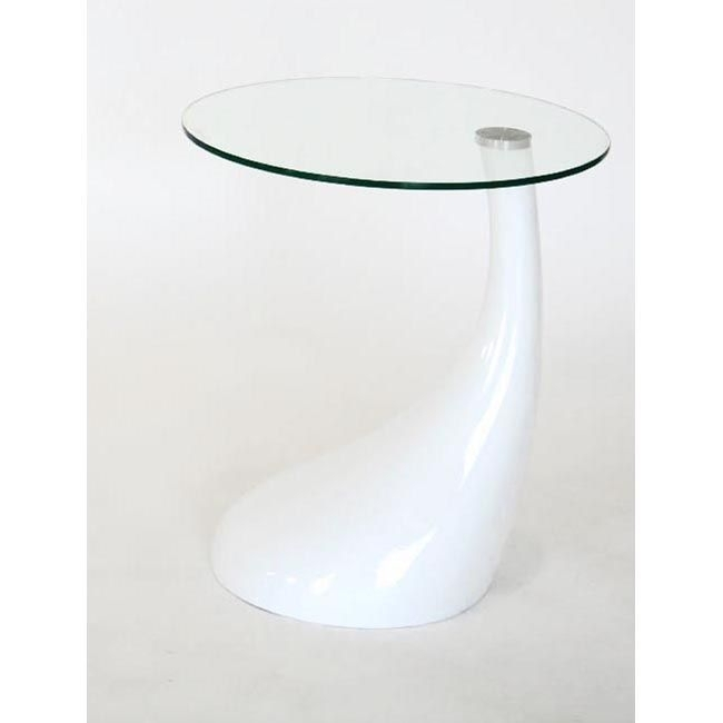 The Asymmetrical Base On This Contemporary White End Table Has An Regarding Torrin Round Cocktail Tables (View 11 of 40)