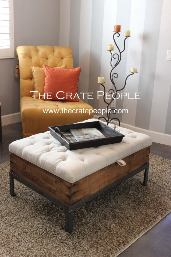 The Raisin Box Bench Coffee Table With Storage | Tufted Lift Top Pertaining To Button Tufted Coffee Tables (View 25 of 40)