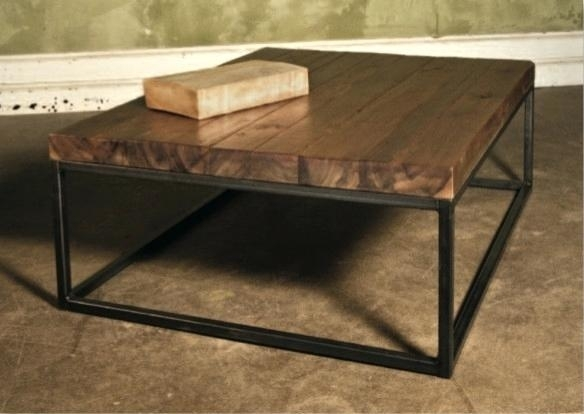 Timber Coffee Table Iron And Reclaimed With Cross Detail Legs Marble Inside Reclaimed Pine & Iron Coffee Tables (View 8 of 40)